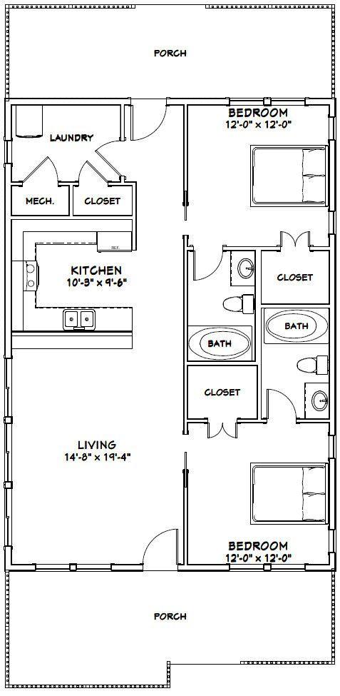 28x40 House 28x40h2a 1 120 Sq Ft Excellent Floor Plans Cottage Floor Plans Bedroom Floor Plans Tiny House Floor Plans