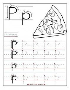 Free Printable letter P tracing worksheets for preschool. Free learning upper and lowercase letters worksheets for kids. letter P for Pizza