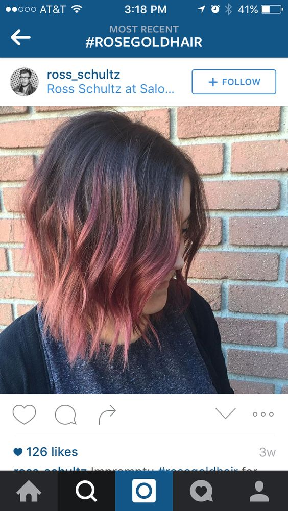 Rose gold ombré bob This is exactly what I want want with a little more gold tones