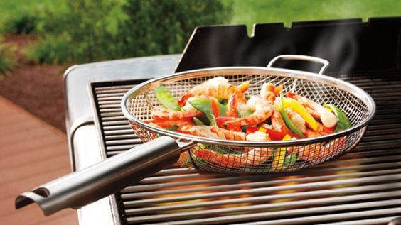 Grilled veggies are my favorite! - What a genius idea! - a mesh pan!