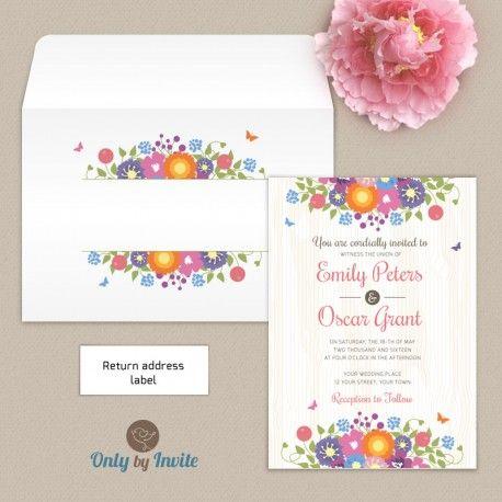 Rustic Wedding Invitation & Envelope Set