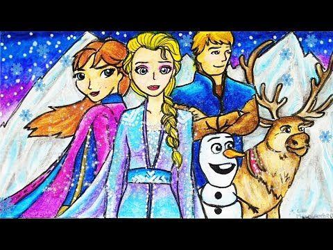 Cara Menggambar Dan Mewarnai Tema Frozen 2 Elsa Anna Olaf Kristoff