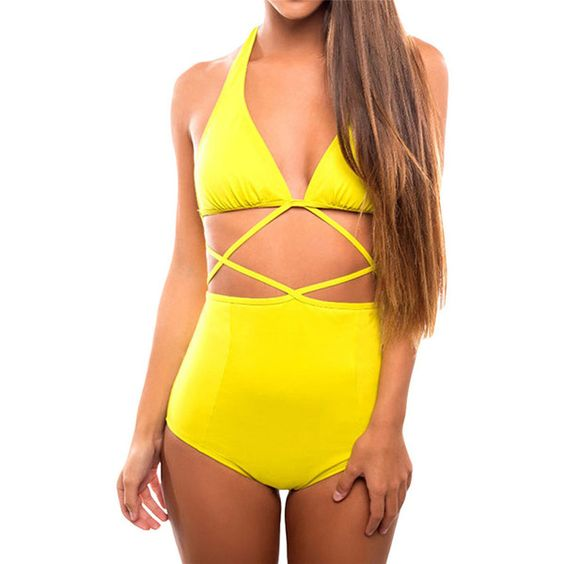 Yellow Cut Out Halter High Waisted Chic Ladies Monokini (£13) ❤ liked on Polyvore featuring swimwear, one-piece swimsuits, yellow, monokini swimsuits, cut-out bathing suits, high waisted bathing suits, high-waisted bathing suits and one piece cutout swimsuit