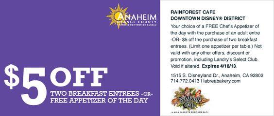 Free Appetizer Coupon Rainforest Cafe Downtown Disney