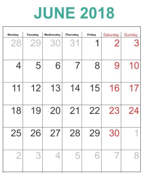 Free Printable June 2018 Calendar 2018 Printable Calendar