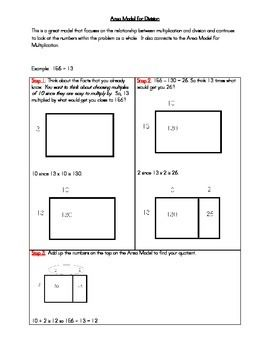 math worksheet : this gives a step by step to using the area model for division  : Area Multiplication Worksheets