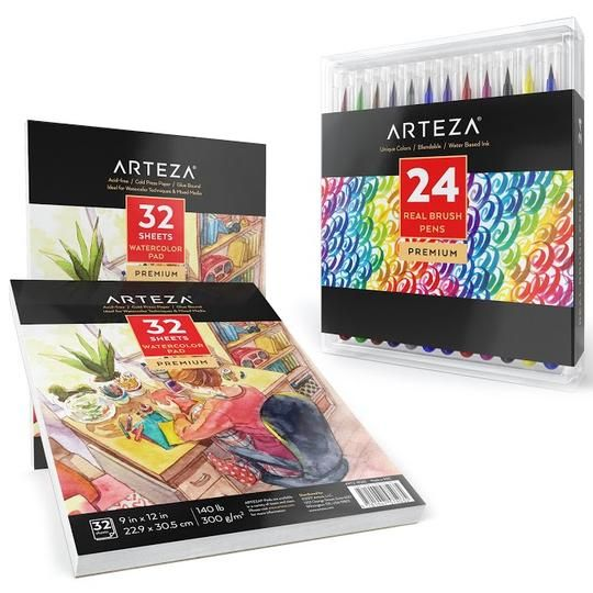 Watercolor Pad 9 X 12 In 32 Sheets Pack Of 2 In 2020 Brush