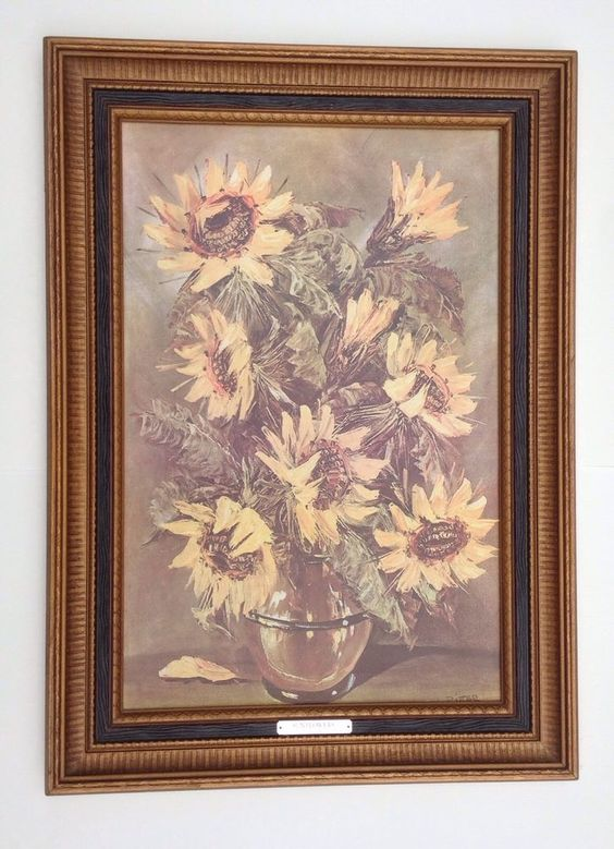 rare retired home interiors embossed picture framed sunflowers by j ritter