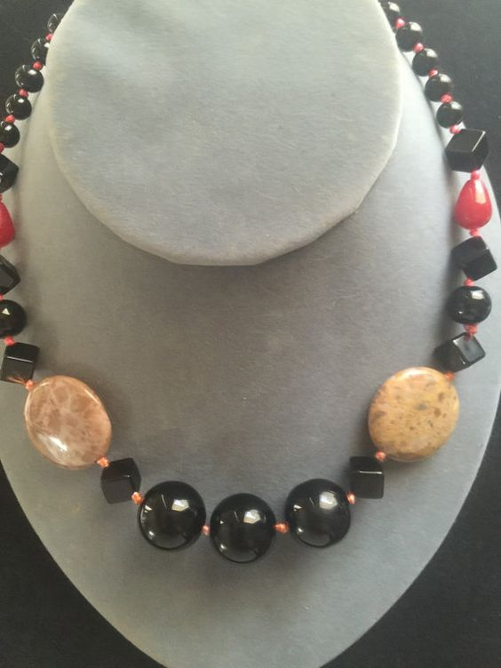 "Title:  #Handmade Red Jade #Jasper Black Onyx Gemstone Necklace Description: 18K White Gold Plated Length: 21 7/8""  Stone Size: 30x30x7mm - 8mm Whether you are dressing up fo... #necklace #handmade #jasper"