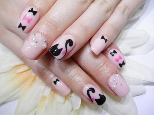 黒猫ちゃんネイル 【ネイルサロン&まつげエクステ T-Bear】 http://nail-beautynavi.woman.excite.co.jp/design/detail/24809?pint ≪ #nail #nails #nailart #softgel #gelnail #ジェルネイル≫