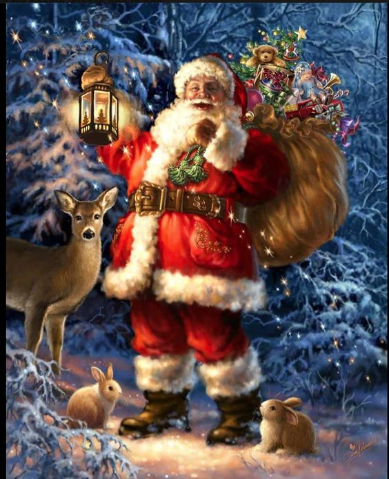 Now - I'm fascinated every time I see a painting or photo with a deer - reminding me that miracles do indeed happen daily. Dona Gelsinger - Santa With lantern: