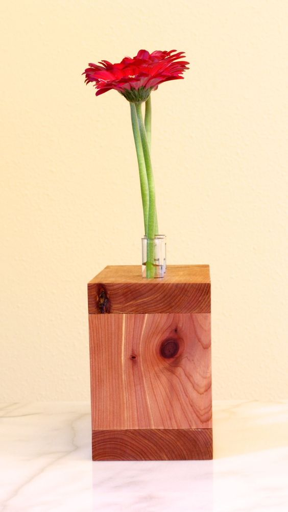 This solid cedar wood frame has three holes at the top which are just the right size to hold a test tube. These test tubes are a great way to show off your favorite flowers in a new and unique way.