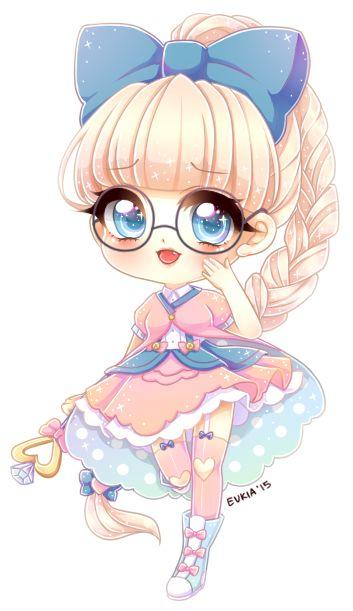 Fille chibi avec des lunettes inspiration personnages - Personnage manga fille ...