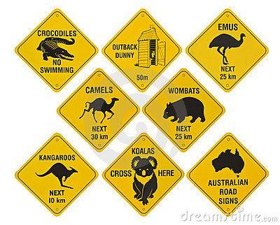 Quelques exemples de panneaux de signalisation australien sur les animaux ! http://www.voyage-langue.com/