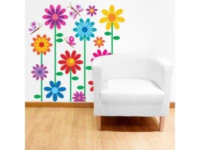 Adesivo de parede para sala, modelo Flores Coloridas II. Vários tamanhos disponíveis na loja. Só escolher, comprar e realmente mudar o ambiente de sua casa.