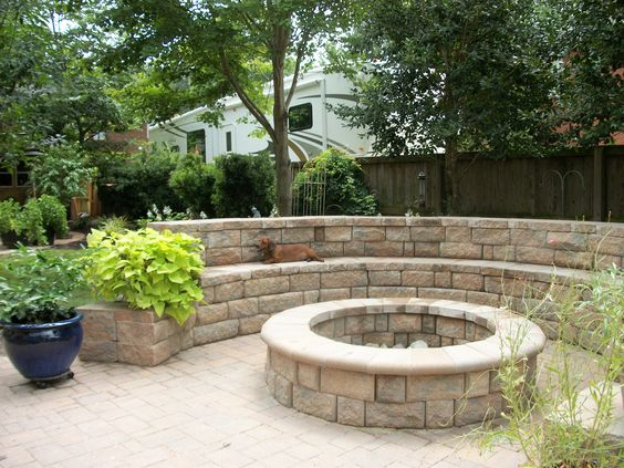 fire pit with retaining wall seating