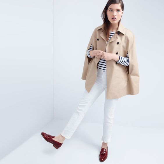 J.Crew Looks We Love: women's trench cape, Saint James® for J.Crew slouchy T-shirt, matchstick jean in white and Biella crackled leather loafers.: