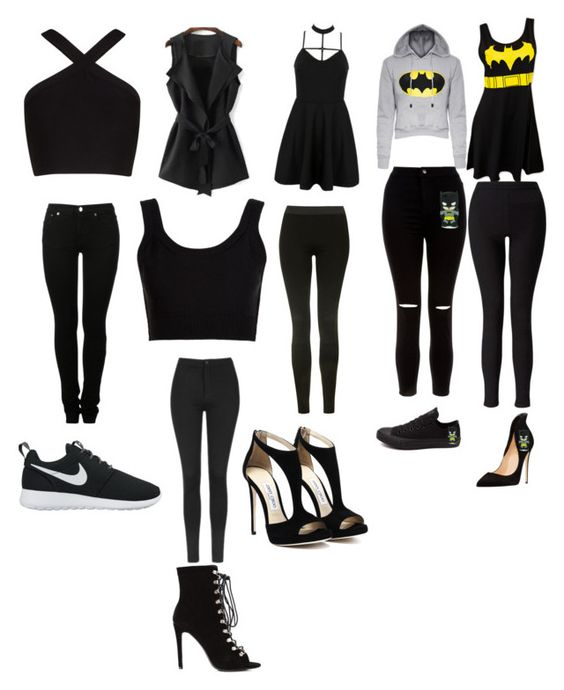 """""""Black or batman"""" by beauty-girly15 on Polyvore featuring BCBGMAXAZRIA, Calvin Klein Collection, WithChic, MM6 Maison Margiela, Topshop, NIKE, New Look, Miss Selfridge and Converse"""