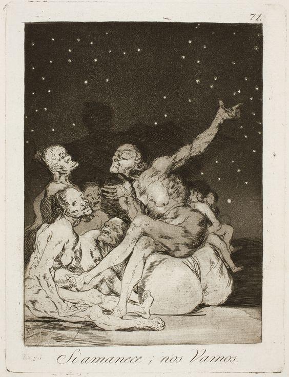 """Francisco de Goya: """"Si amanece, nos Vamos"""". Serie """"Los caprichos"""" [71]. Etching, aquatint and burin on paper, 196 x 148 mm, 1797-99. Museo Nacional del Prado, Madrid, Spain"""