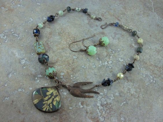 Sparrow's Flight Necklace and Earring SET. $68.78, via Etsy.