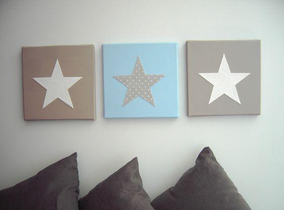Tableau triptyque toiles bleu blanc taupe d coration for Decoration taupe et blanc