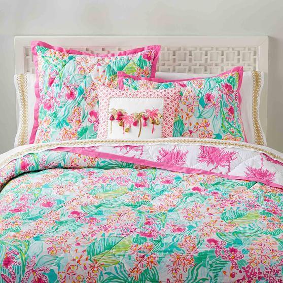 Lilly Pulitzer Orchid Quilt Sham Quilted Sham Girls Bedding