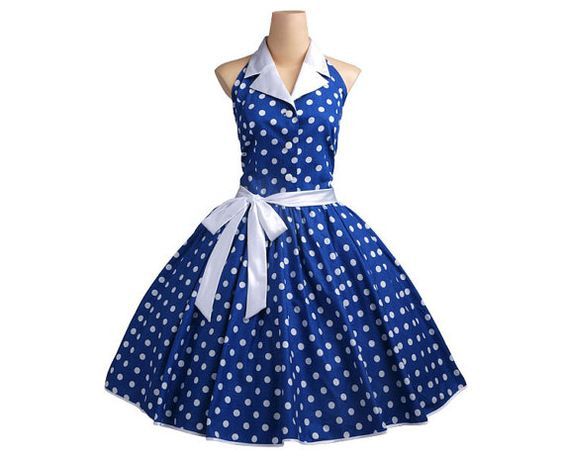 1950s Royal Blue / Med White Polka Dot Dress TD051 by wanyboon, $72.00