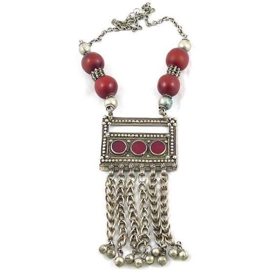 Vintage necklace Yemen, Bedouin ethnic jewellery. Free shipping worldwide.