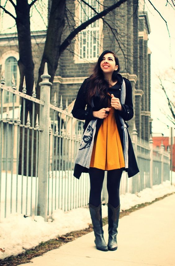 yellow dress black tights pinterest