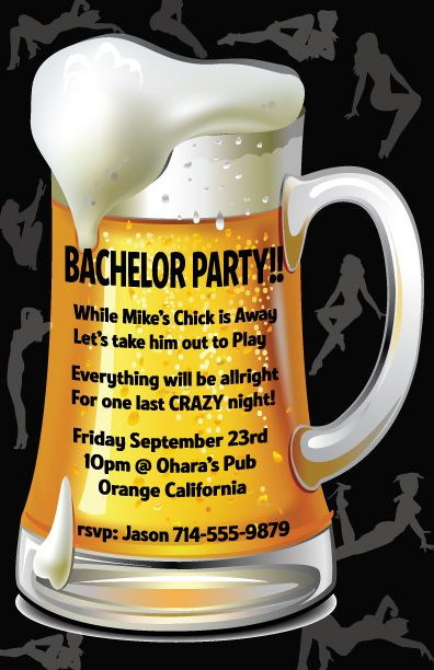 Beer Mug Bachelor Party Invitation! www.delightinvite.com | Manly ...