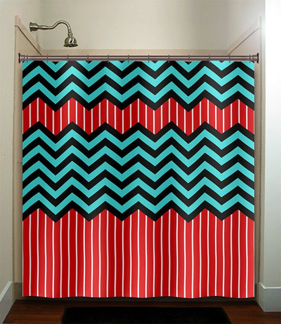 Red Stripe Aqua Blue Chevron Shower Curtain Bathroom Decor Fabric Kids Bath W