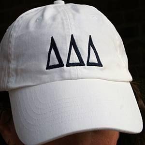 Delta Delta Delta Sorority Hat White with Greek Letters: $26.00. Great Greek Gift.