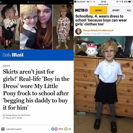 lauren sur Instagram: my beautiful little boy was recently in a few of the national newspapers because he decided that boys should be allowed to wear skirts and…