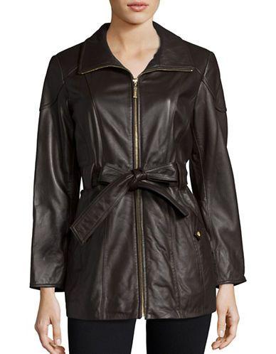 Ellen Tracy Mid Length Zip Front Belted Leather Coat Women's Brown Pet