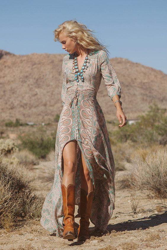Cowgirls Fashions Western Style Boho Blossom Gown Sage