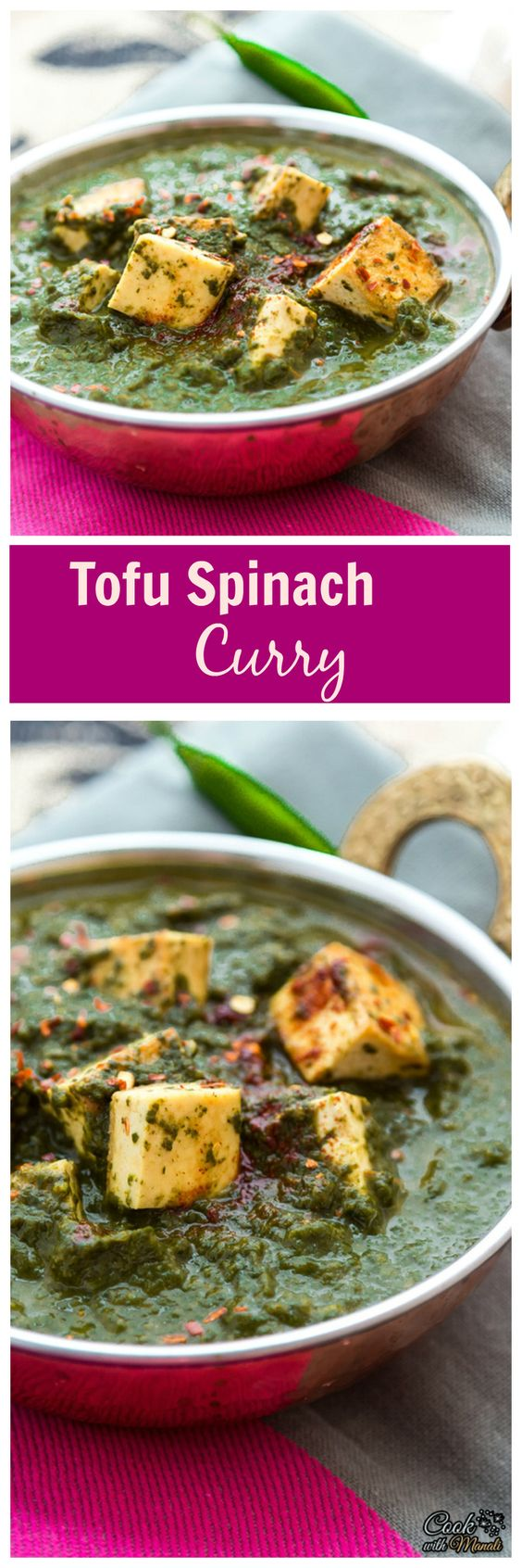 Pan-fried Tofu cooked in a Spicy Spinach Curry! Great with Naan, Rice & Parathas!