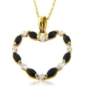 $8.99 - 1 Carat Marquise Cut Sapphire & Diamond Accent Heart Pendant in 18K Gold-Plated Sterling Silver