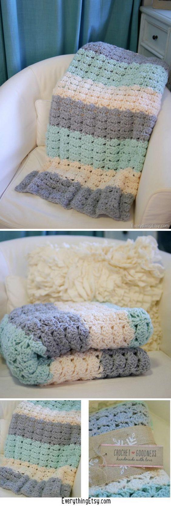 Easy Crochet Shell Stitch Blanket Pattern.: