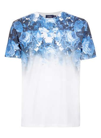 WHITE BLUE ROSE T-SHIRT - Men's T-Shirts & Vests  - Clothing