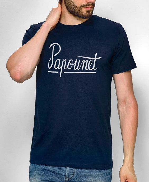 T-shirt Homme Papounet Bleu marine by Monsieur TSHIRT