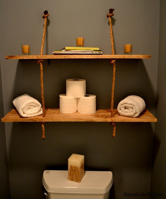 Rustic Rope shelves.  This would be great for Rex's pirate bathroom