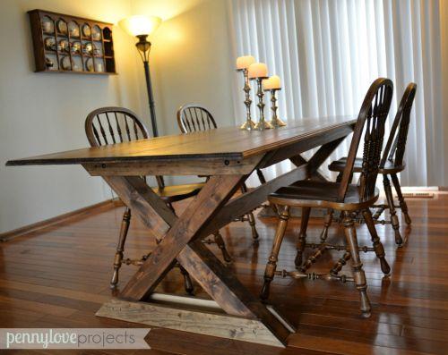 Diy pottery barn inspired farmhouse table pottery barn for Diy barn table