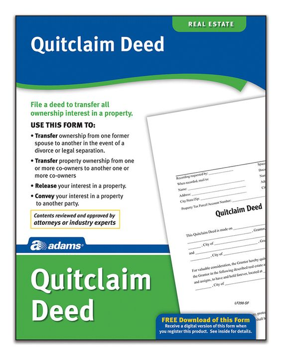 Adams Business Forms Quitclaim Deed Forms and Instruction (Set of - quit claim deed form