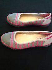Women's UGG Australia Neema Ballet Flats Size 7 - Grey/Pink Stripe