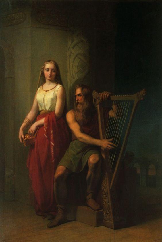 'Bragi sentado tocando el arpa, Iðunn parada detrás de él' (1846) por Nils Blommér