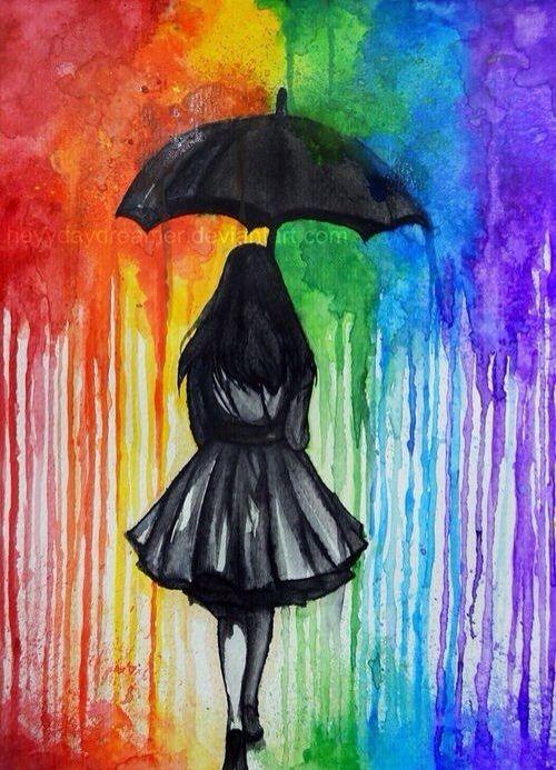 Girl holding umbrella Crayon Art | ART Crayon | Pinterest ...