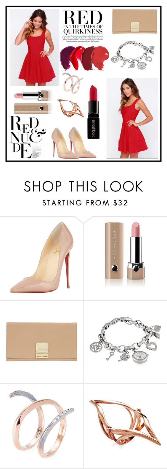 """Red and Nude"" by dumplingxd ❤ liked on Polyvore featuring Christian Louboutin, Marc Jacobs, Jaeger, Anne Klein, Katie Rowland and Smashbox"