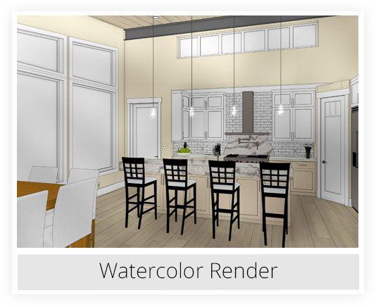 Kitchen Watercolor Rendering Kitchen Interior Interior Kitchen