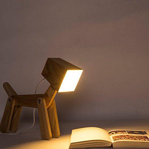 Hroome Modern Design Holz Schreibtischlampe Led Touch Dimmbar Verstellbar Tiere Hund Lampe Dimmer Tischlampe Bele Holzleuchte Holztischlampen Schreibtischlampe