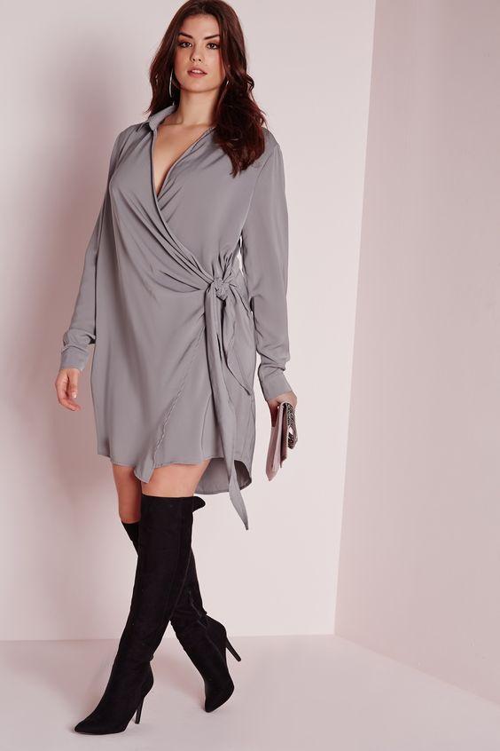 Missguided - Plus Size Wrap Shirt Dress Grey